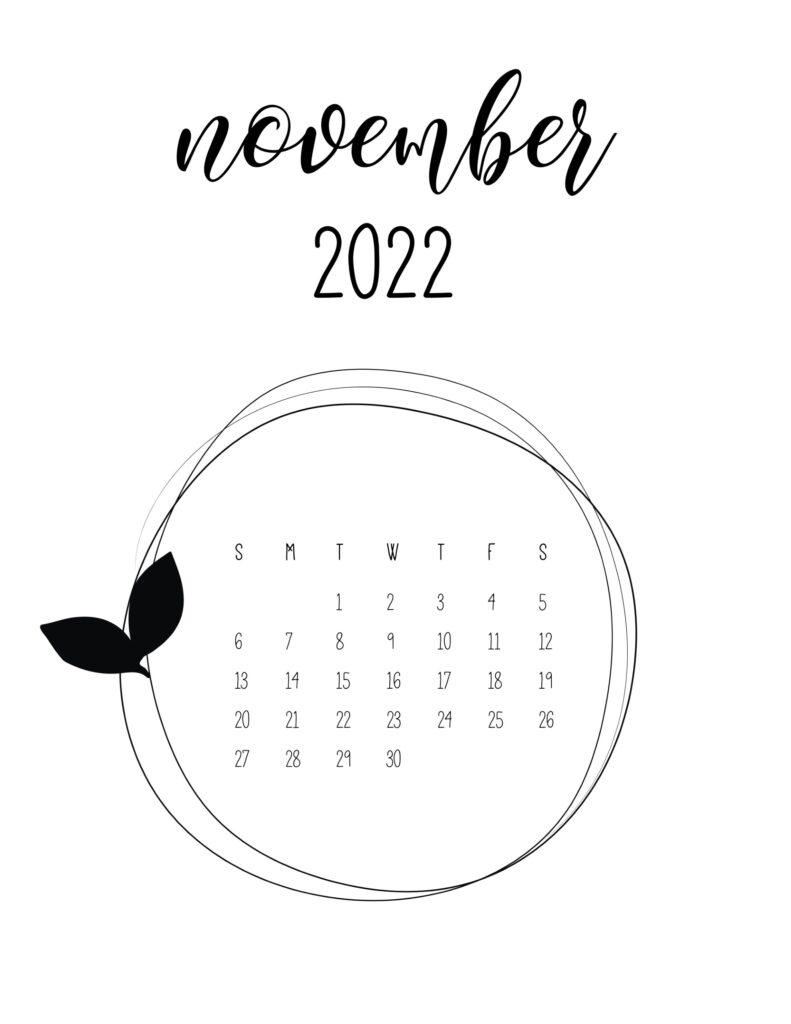 Cute 2022 free calendar - november