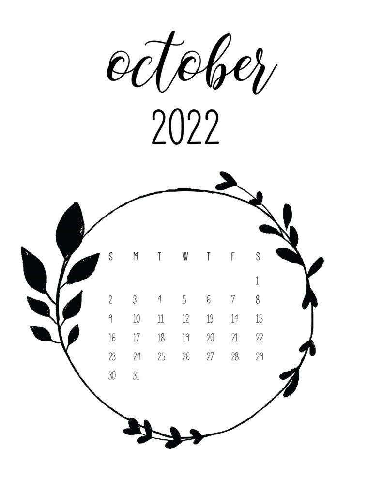 Cute 2022 free calendar - october