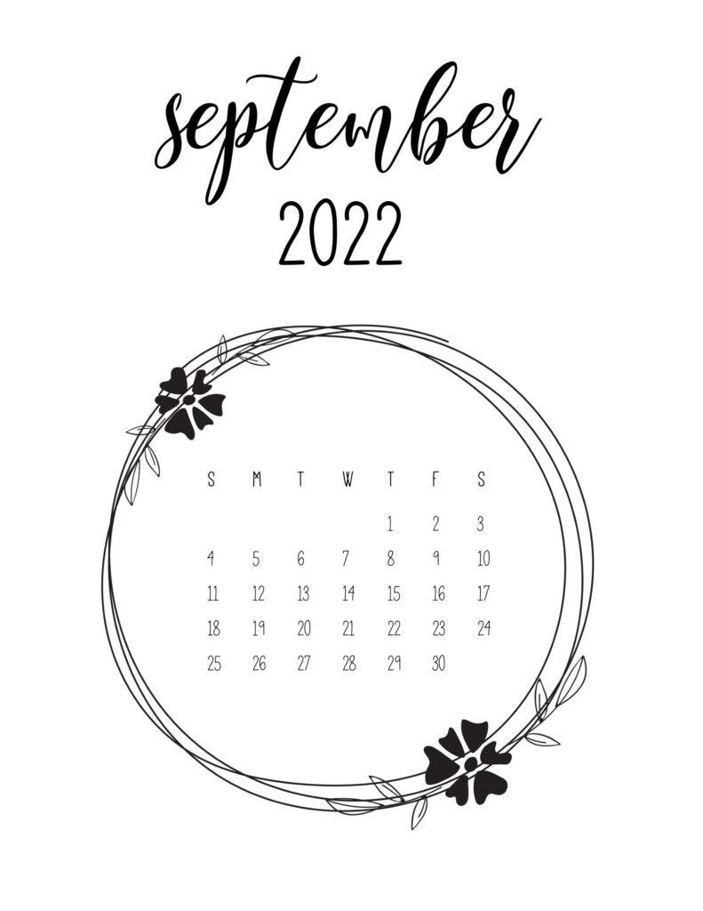 2022 free calendar - september