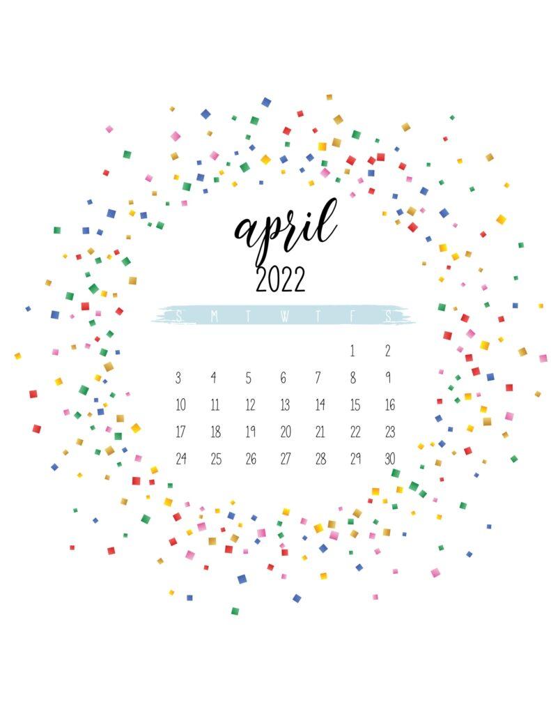 2022 free printable calendar - april