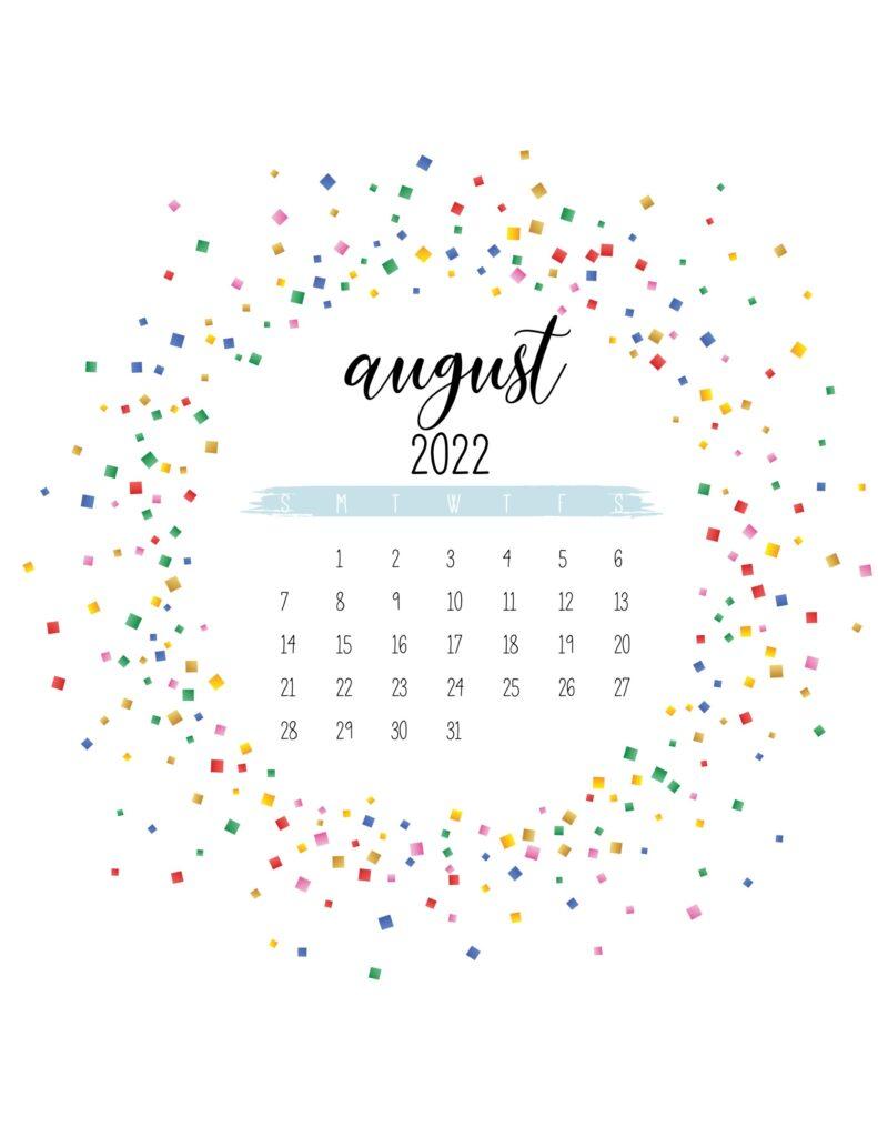 2022 free printable calendar - august