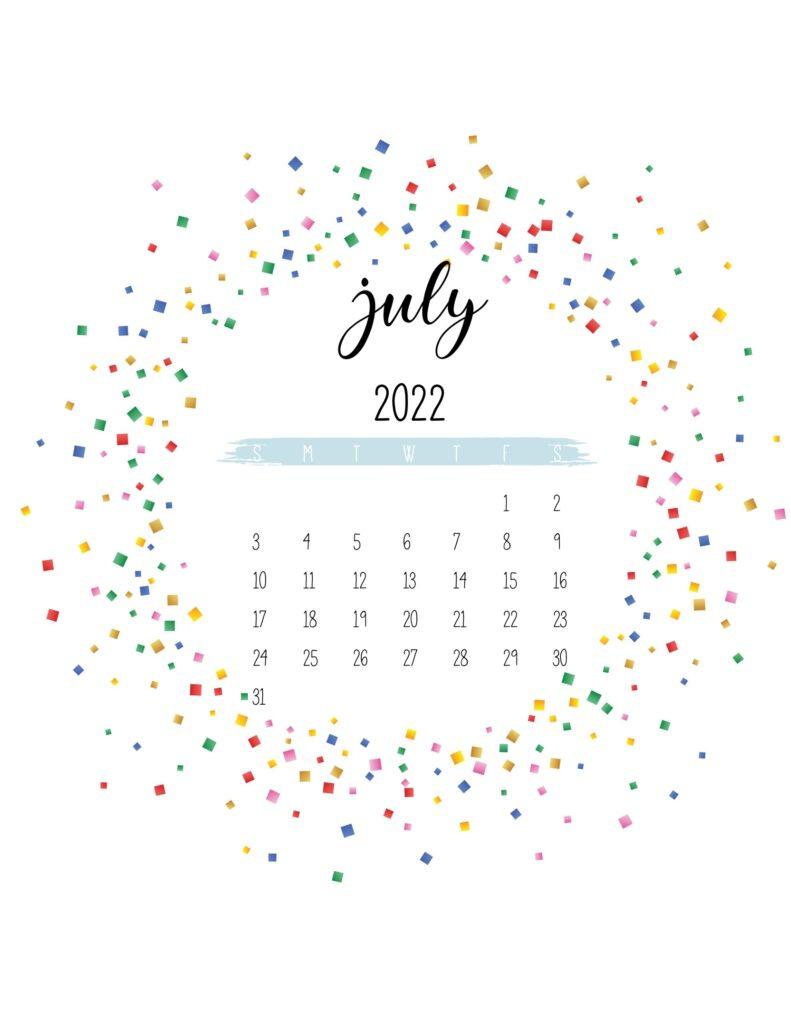 2022 free printable calendar - july