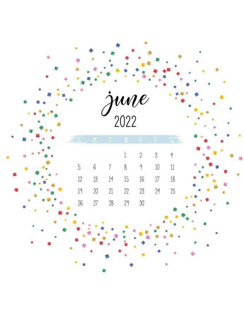 2022 free printable calendar - june