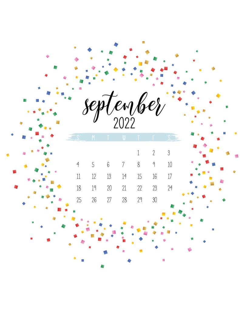 2022 free printable calendar - september