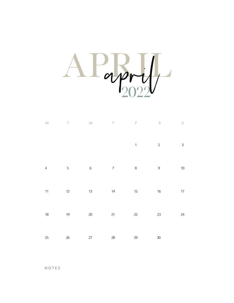 2022 monthly calendar printable - april