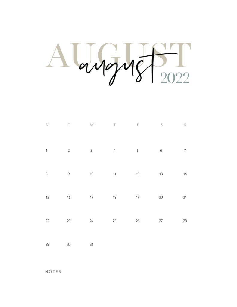 2022 monthly calendar printable - august