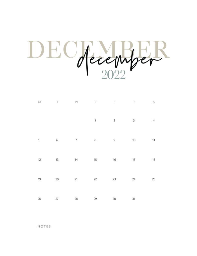 2022 monthly calendar printable - december