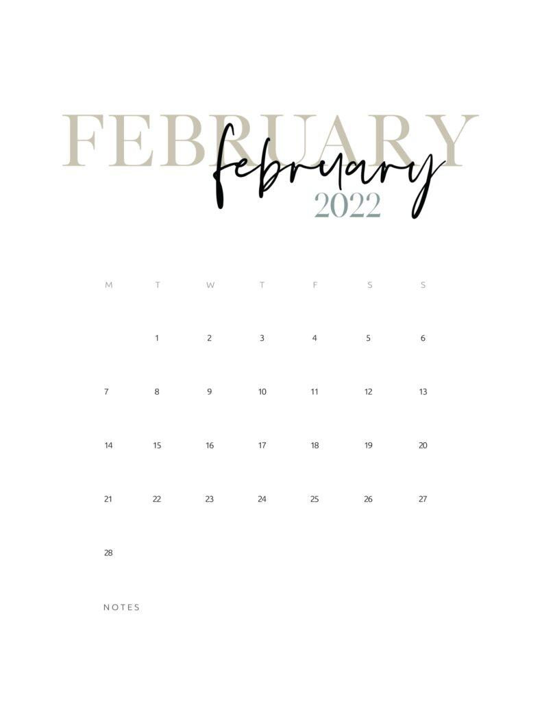 2022 monthly calendar printable - february