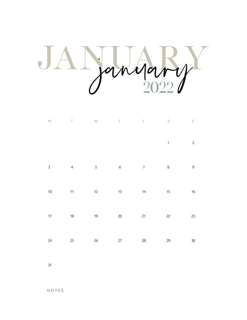 2022 monthly calendar printable - january