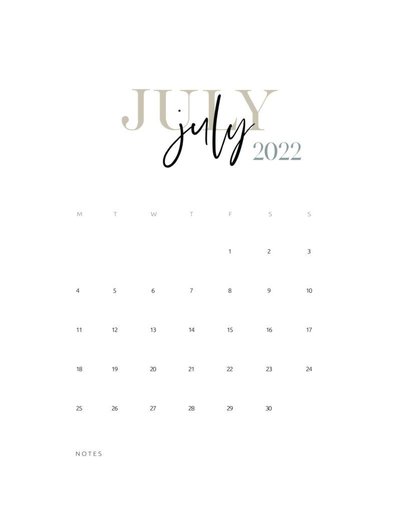 2022 monthly calendar printable - july