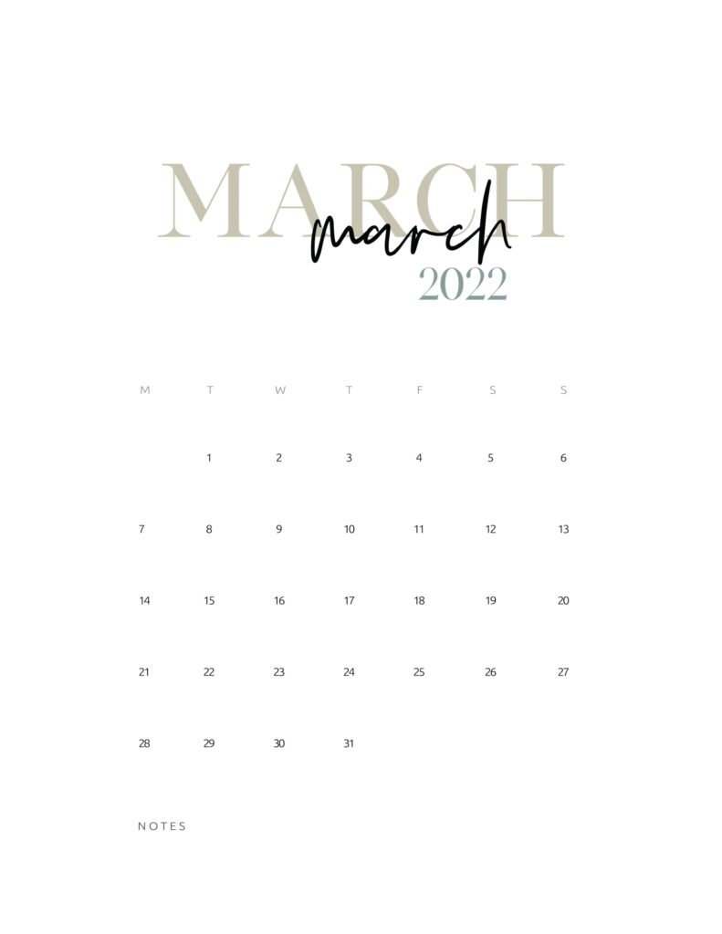 2022 monthly calendar printable - march