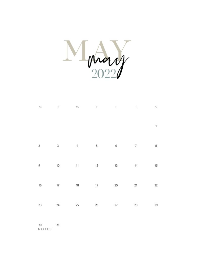 2022 monthly calendar printable - may