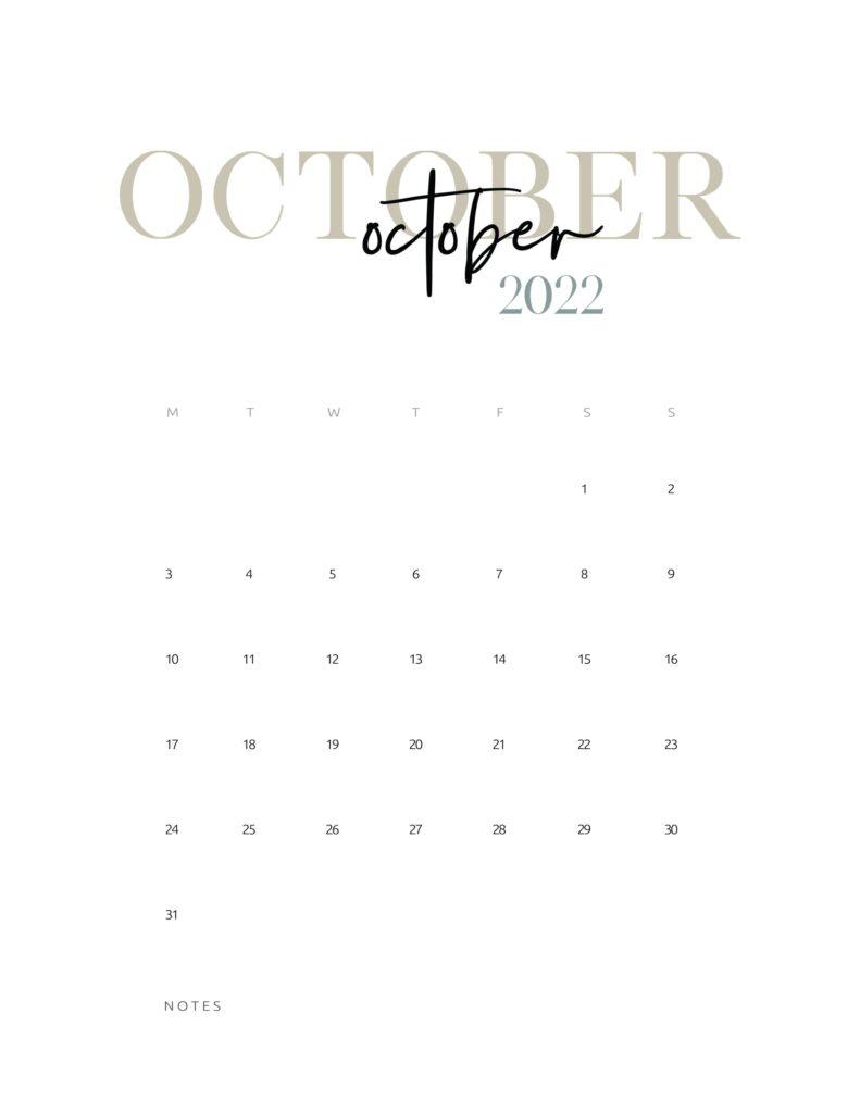 2022 monthly calendar printable - october
