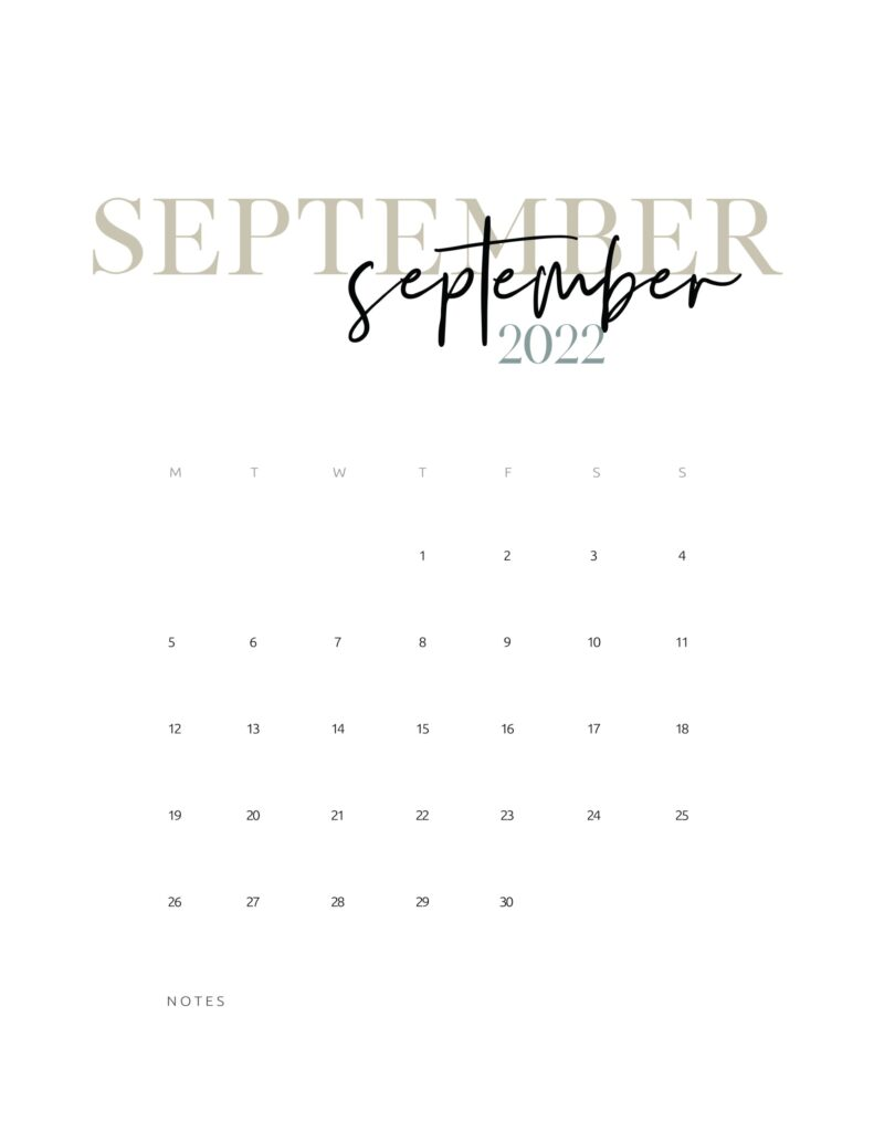 2022 monthly calendar printable - september