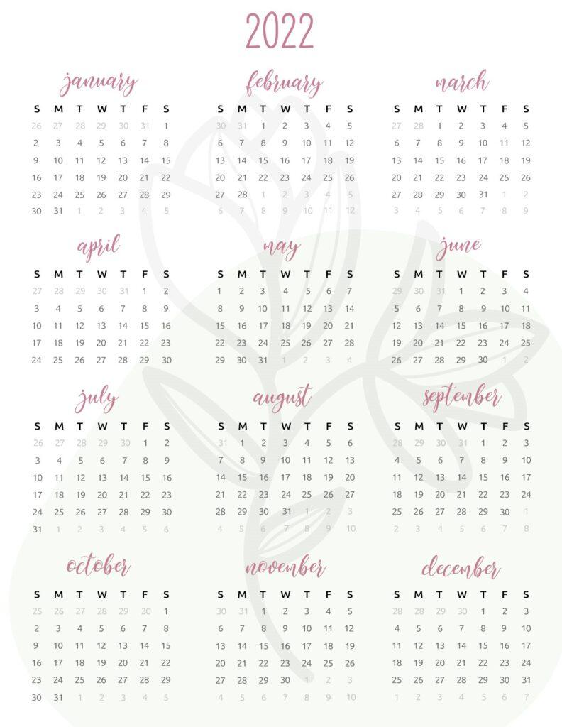 2022 one page calendar printable