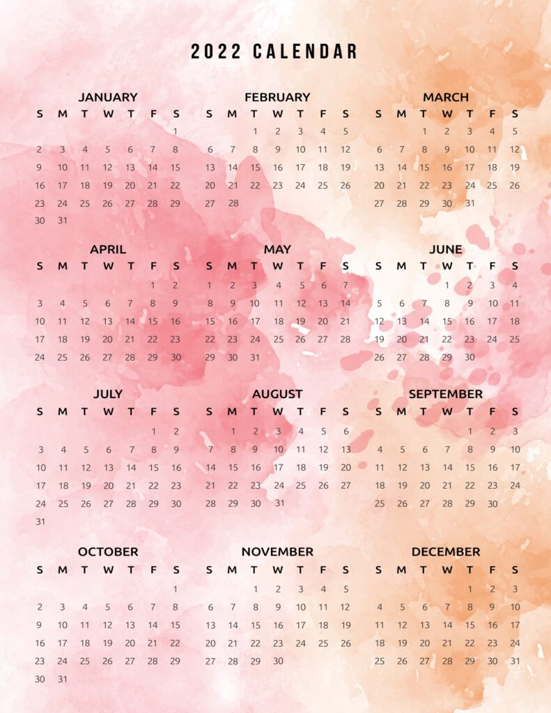 2022 printable calendar one page watercolor in red and orange