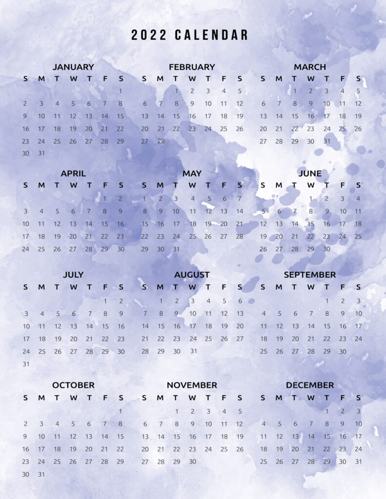 2022 printable calendar one page watercolor blue