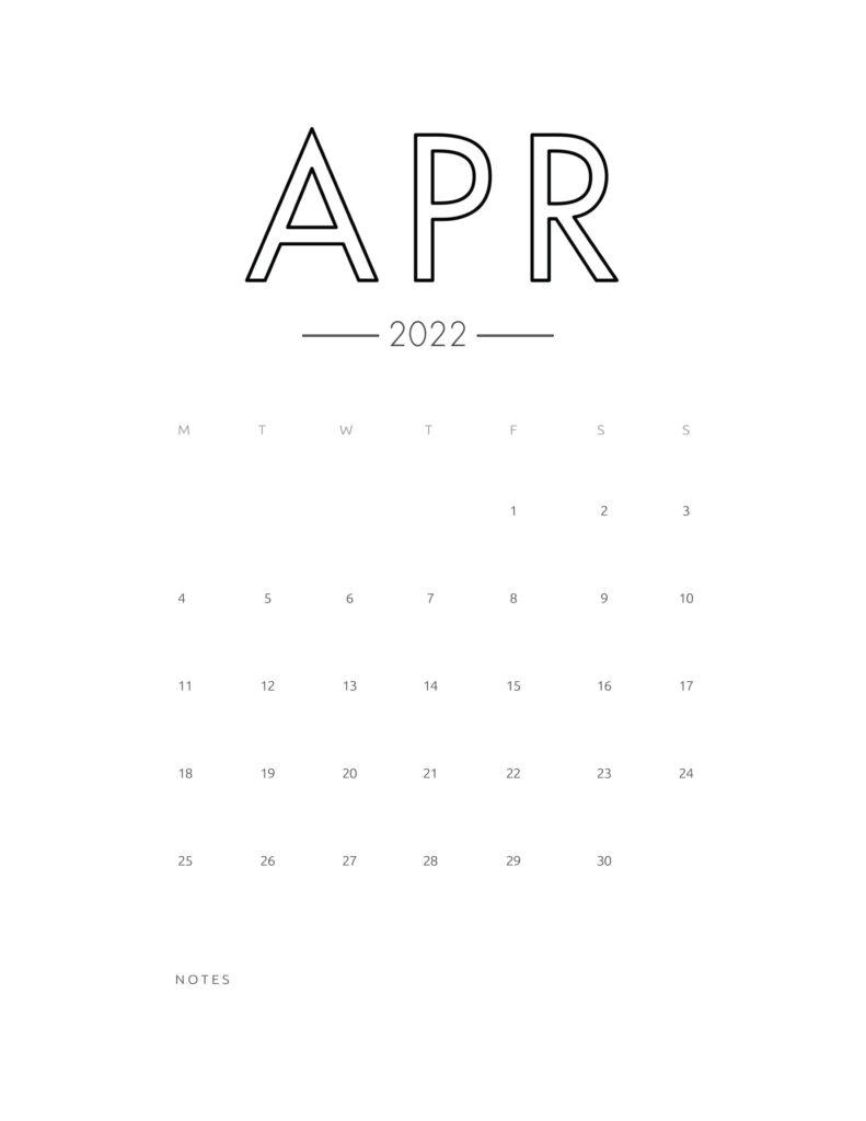 2022 wall calendar - april