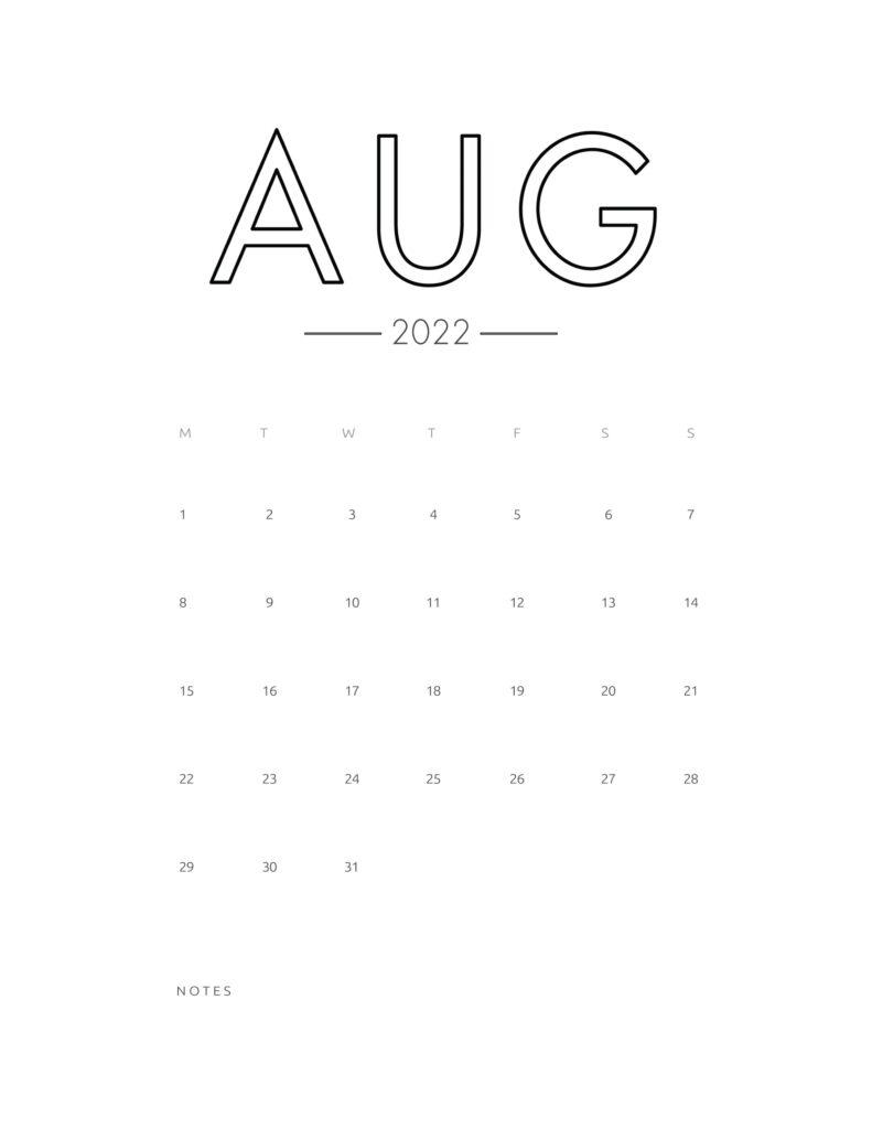 2022 wall calendar - august