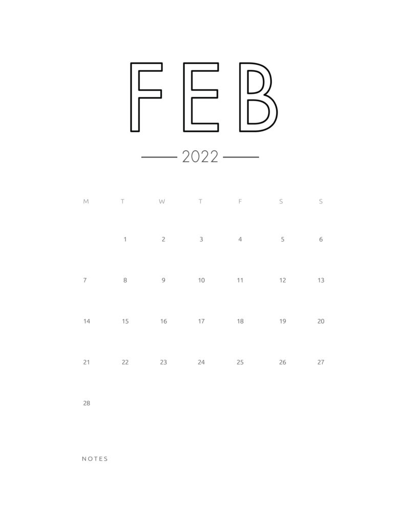 2022 wall calendar - february