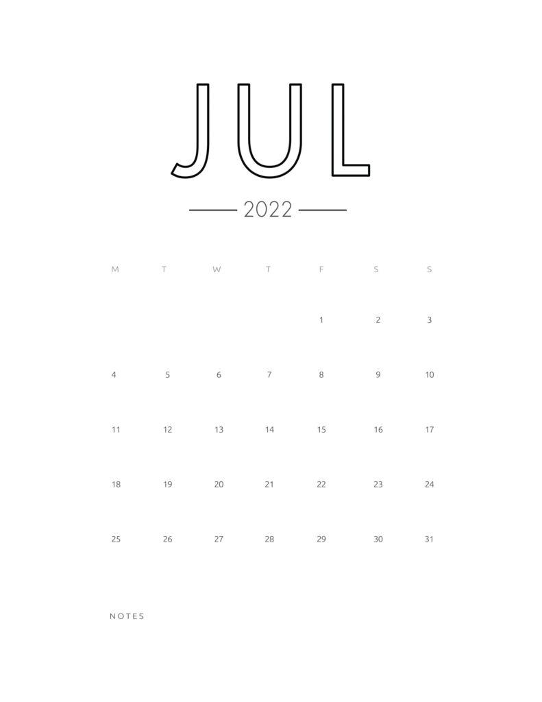 2022 wall calendar - july