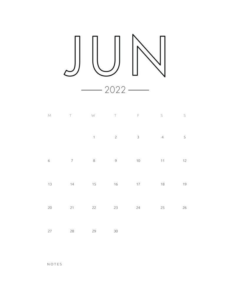 2022 wall calendar - june