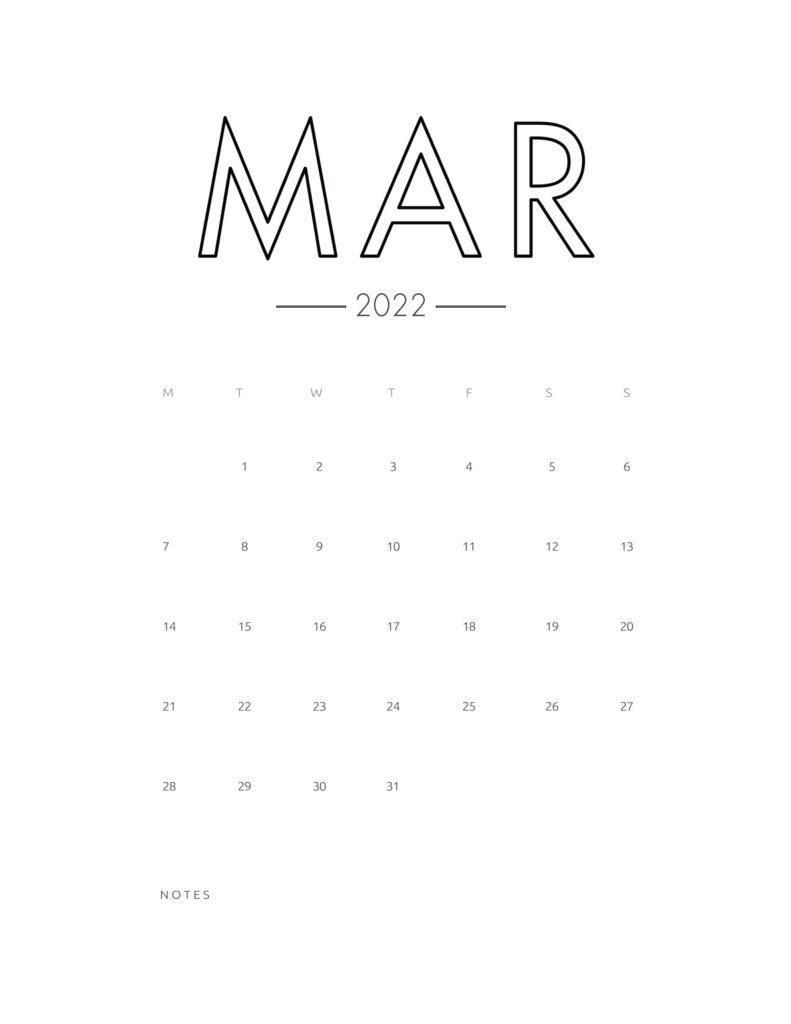 2022 wall calendar - march