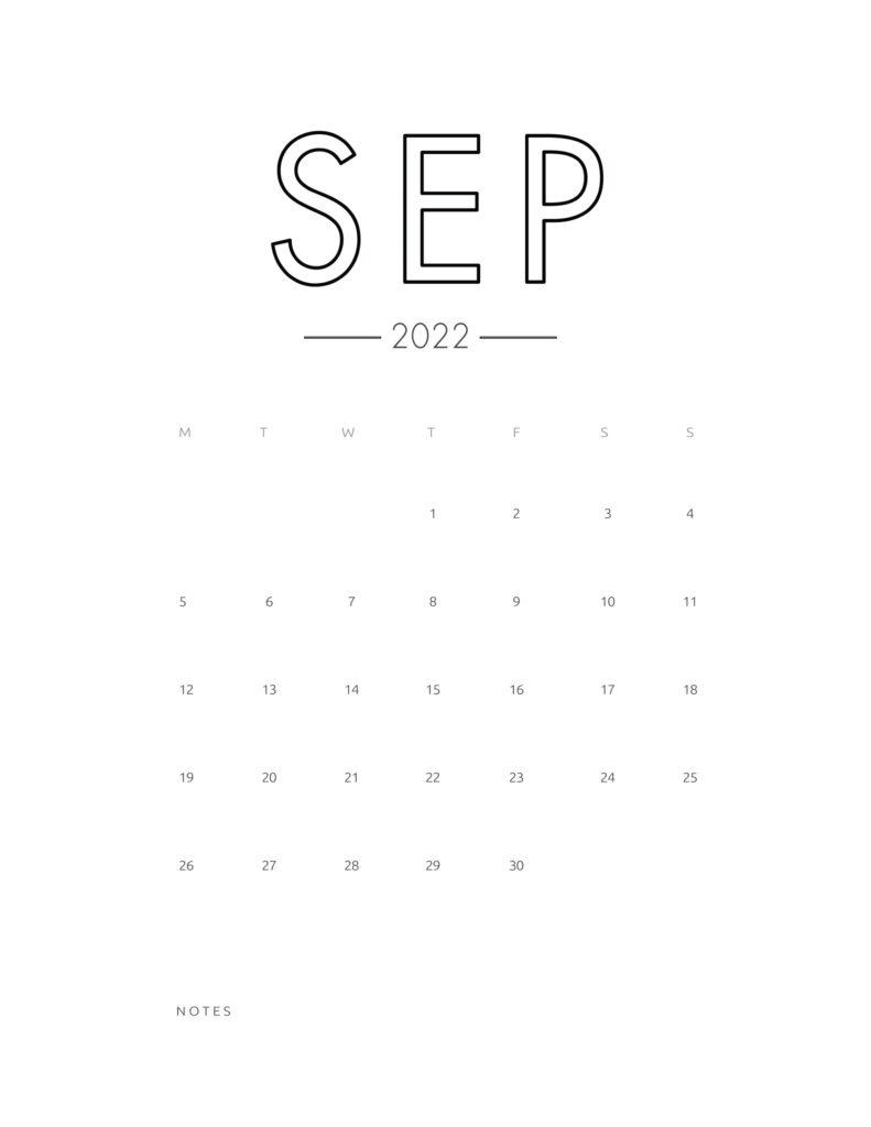 2022 wall calendar - september