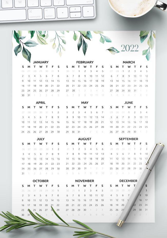 Free 2022 calendar one page - calendar 2022