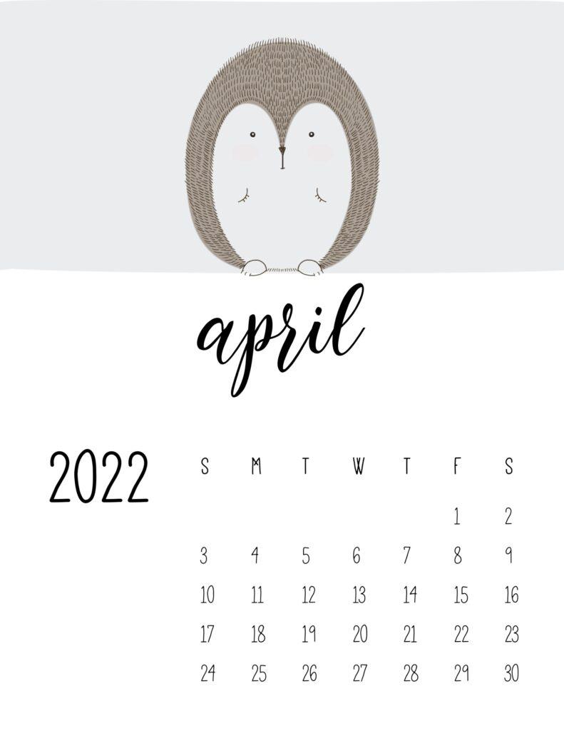 animal calendars 2022 - april