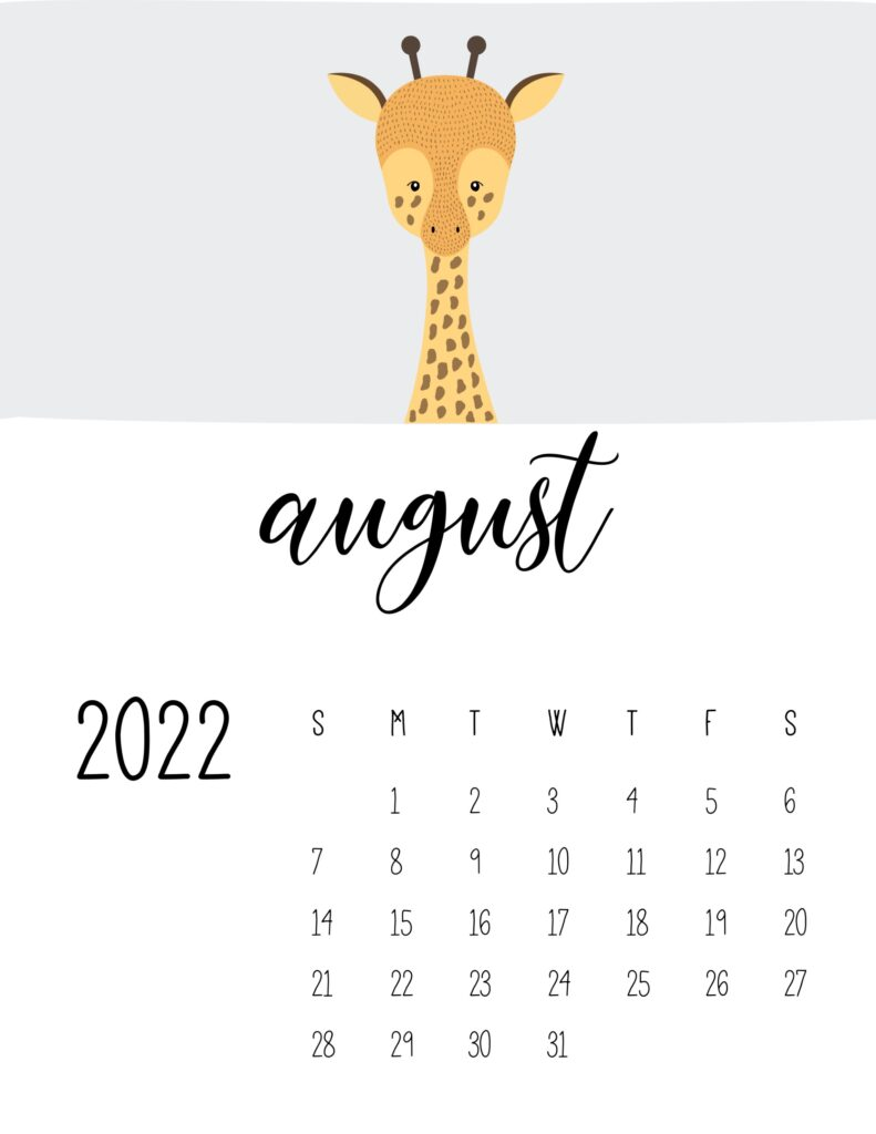 animal calendars 2022 - august
