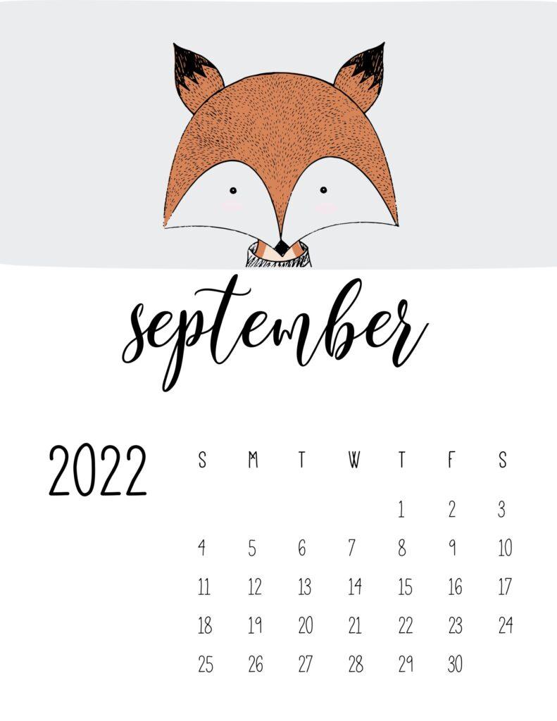 animal calendars 2022 - september