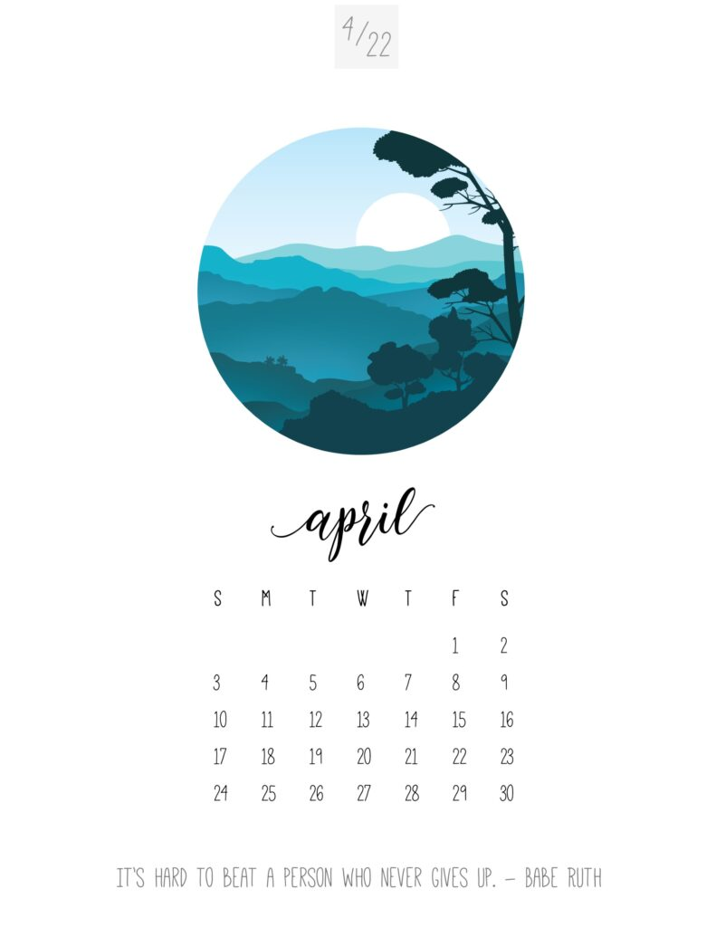 art calendar 2022 - april