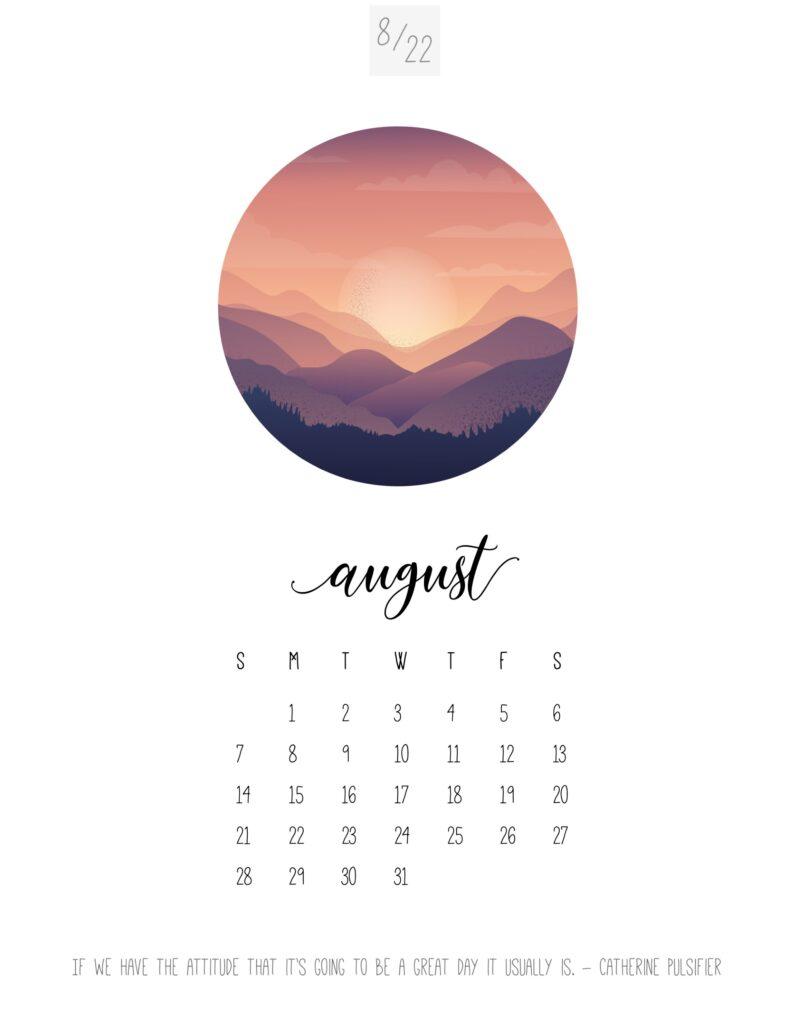 art calendar 2022 - august