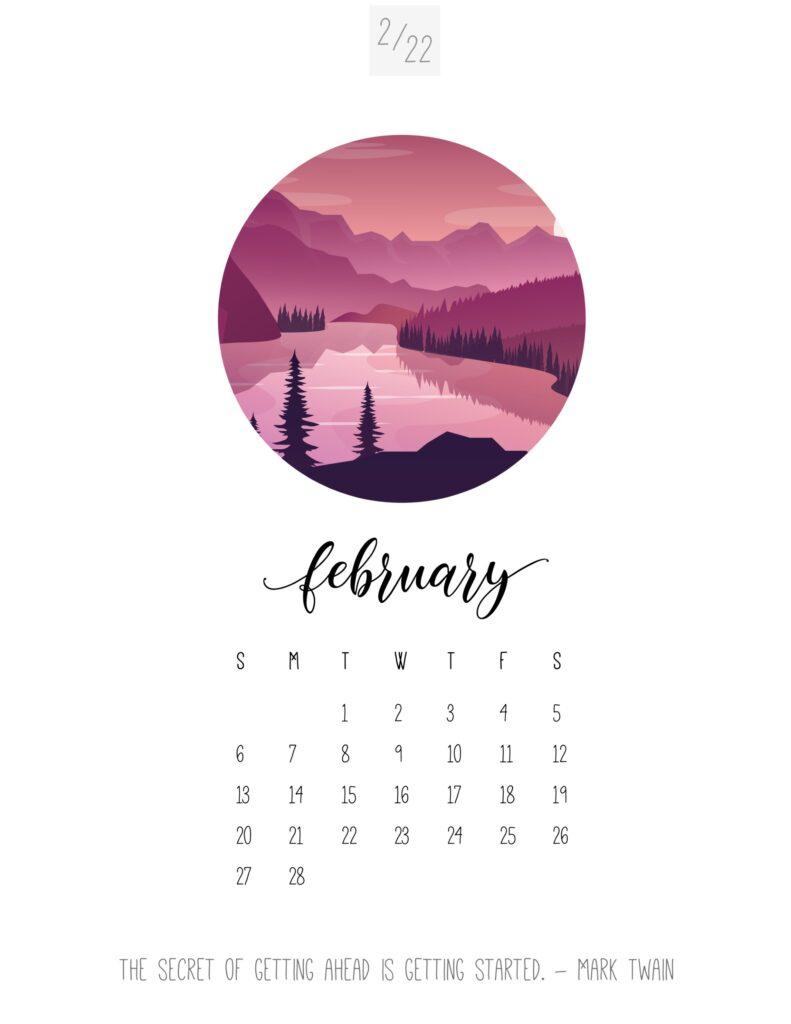 art calendar 2022 february