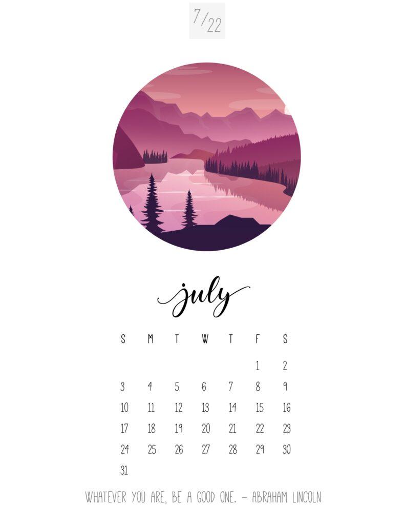 art calendar 2022 - july