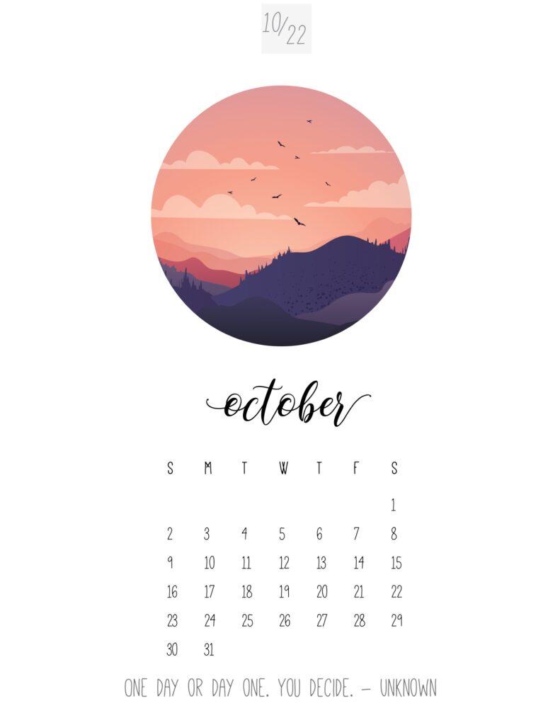 art calendar 2022 - october