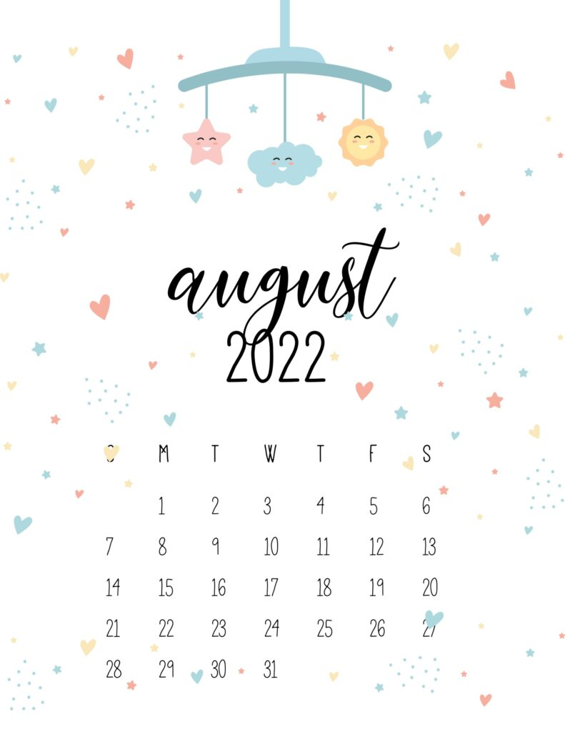baby calendar 2022 - august