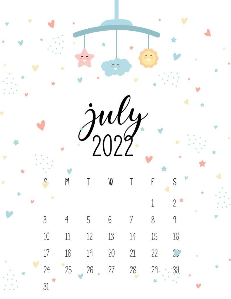 baby calendar 2022 - july