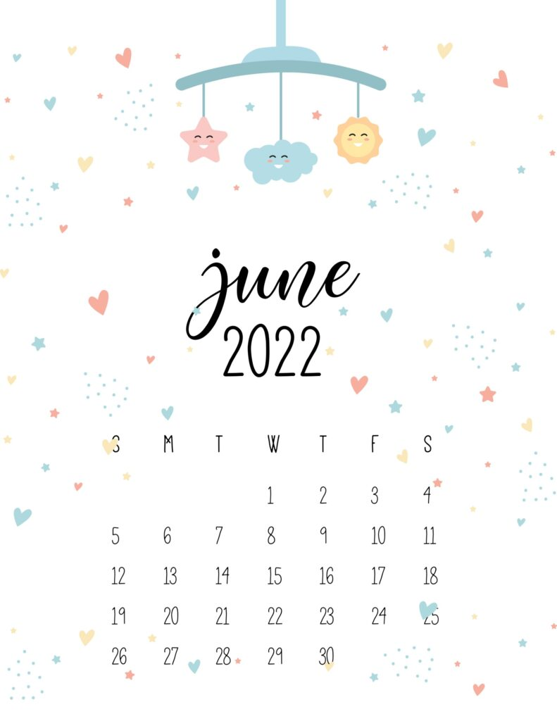 baby calendar 2022 - june