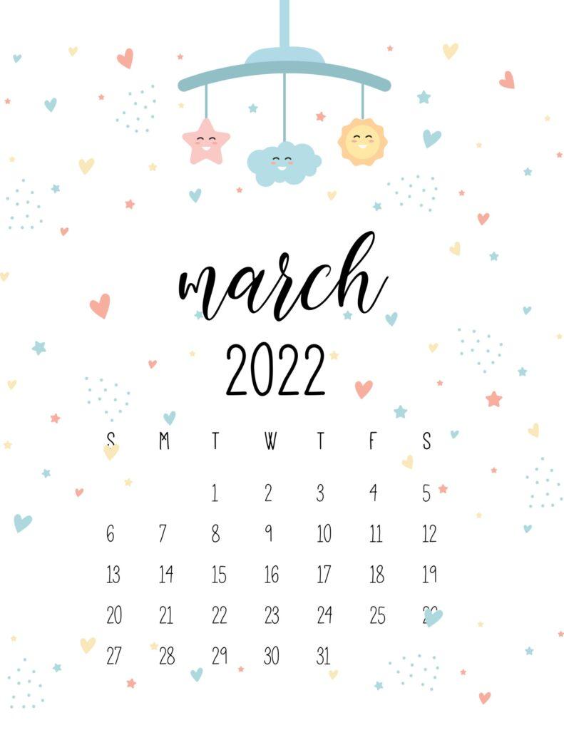 baby calendar 2022 - march