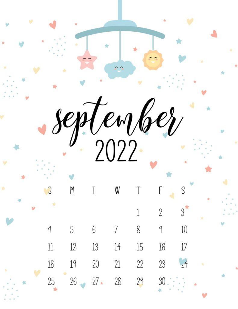 baby calendar 2022 - september