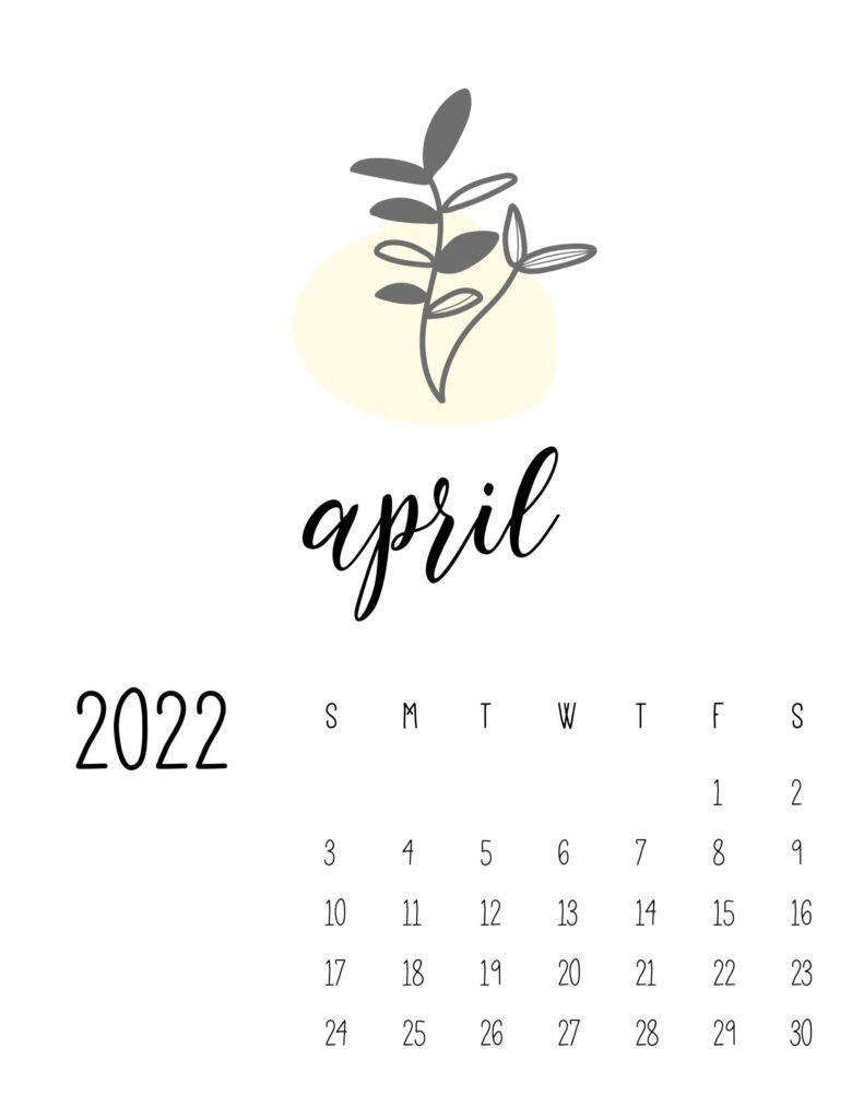 botanical calendar 2022 - april