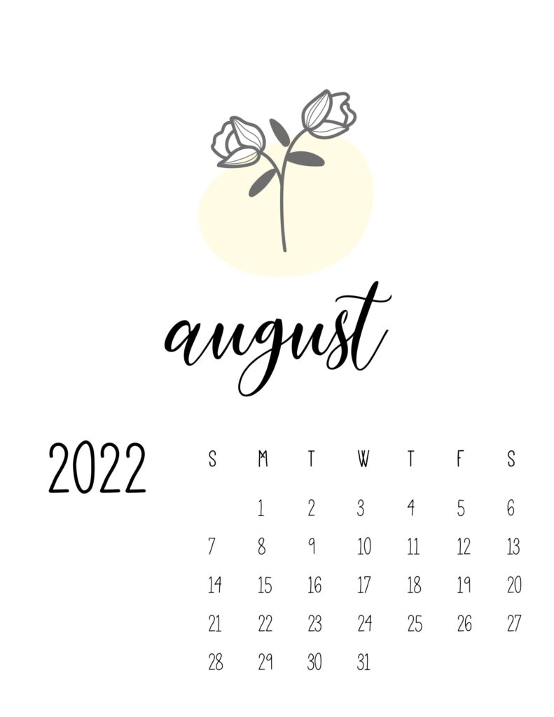 botanical calendar 2022 - august