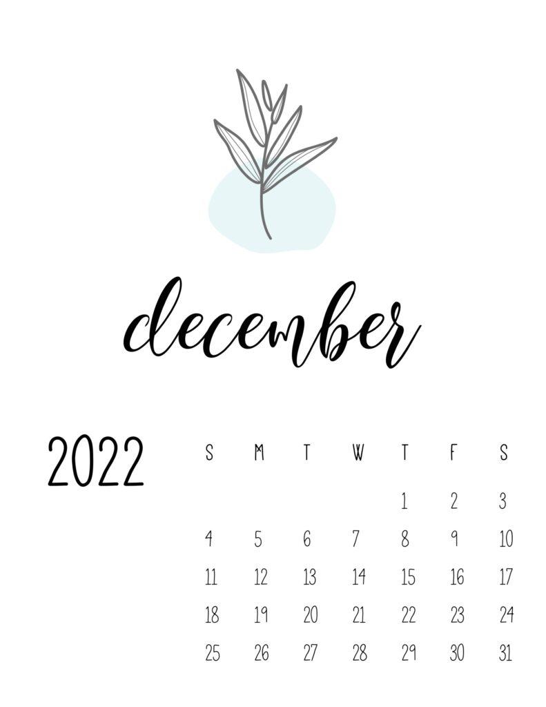 botanical calendar 2022 - december