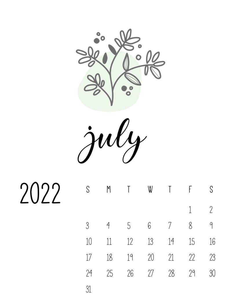 botanical calendar 2022 - july
