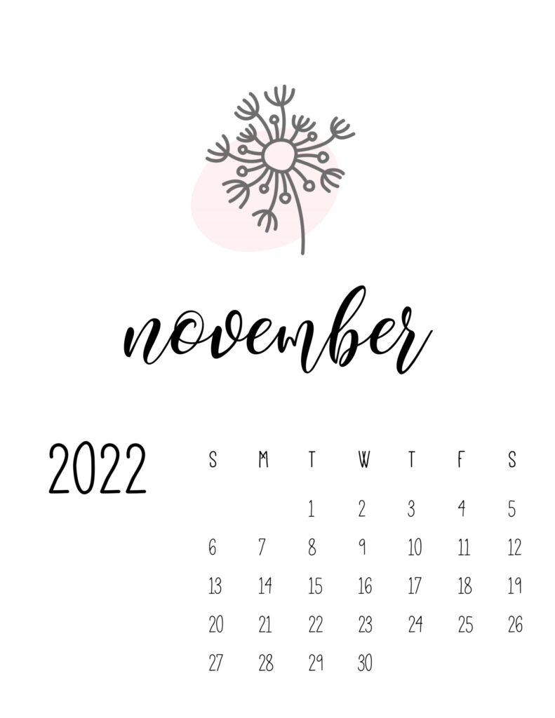 botanical calendar 2022 - november