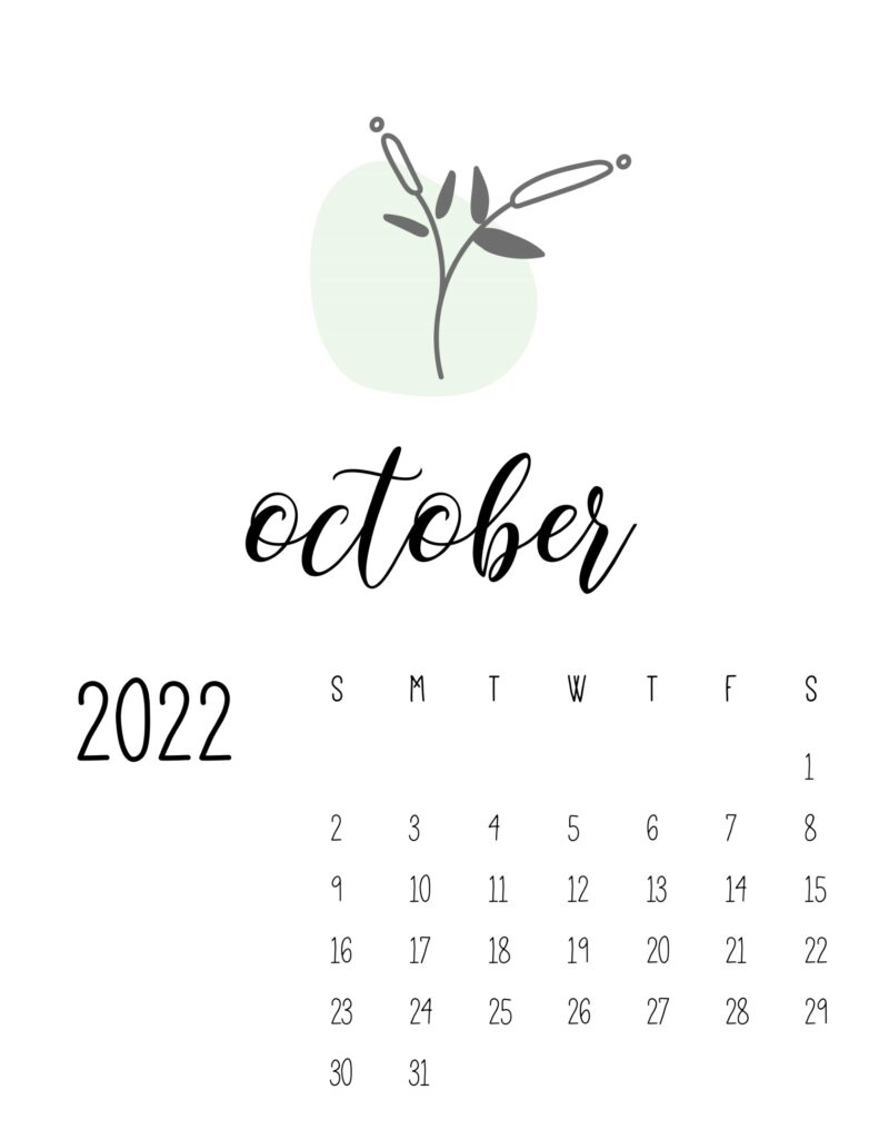botanical calendar 2022 - october