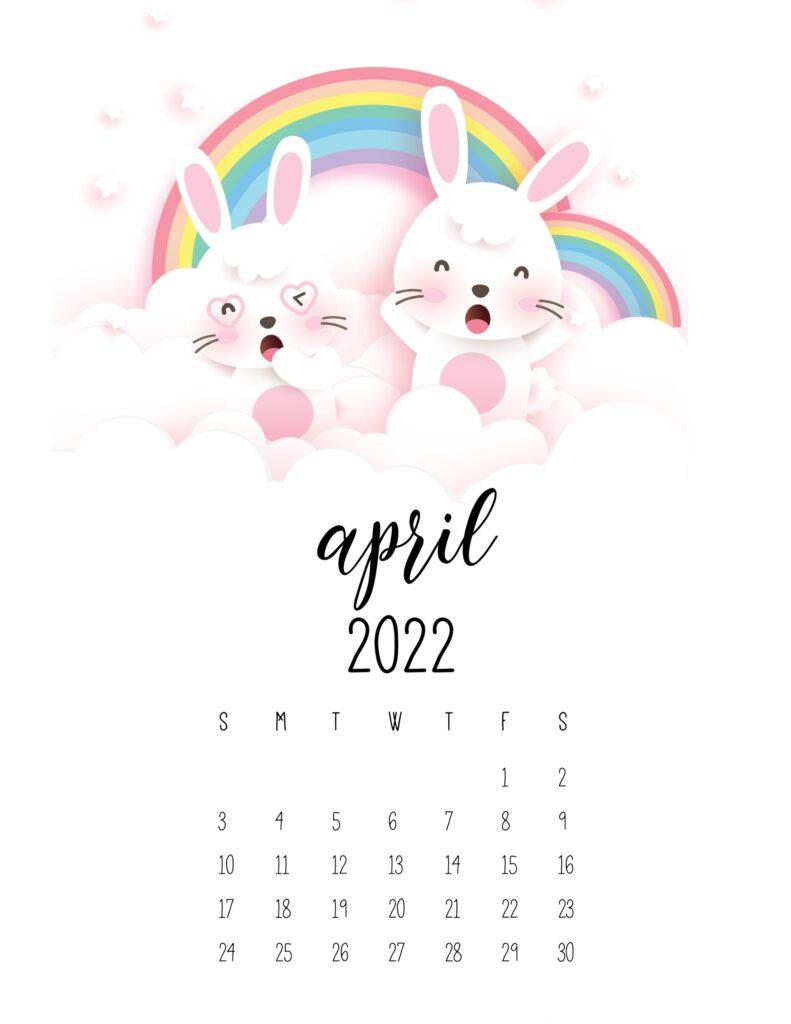 bunny calendar 2022 - april