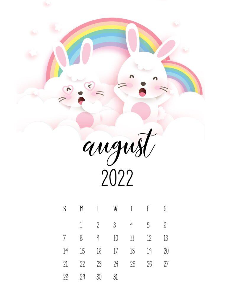 bunny calendar 2022 - august
